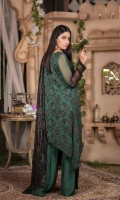 Embroidered Chiffon Front : Embroidered Chiffon Back  : Embroidered Chiffon Sleeve: Embroidered Chiffon Dupatta Pk Raw Silk Dyed Trouser: