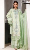 SELF JACQUARD DYED EMB SHIRT   3.15 MTR CAMBRIC DYED TROUSER   2.5 MTRm SLUB NET DYED DUPPATA   2.5 MTR  ACCESSORIES: EMB SLEEVE LACE   1MTR