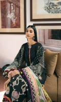 Lawn embroidered front 1.25 mtr Lawn paste printed back & sleeve 1.75 mtr Silk digital printed dupatta 2.5 mtr Dyed cambric trouser 2.5 mtr