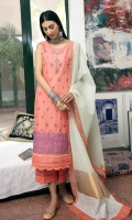 LAWN EMBROIDERED FRONT 1.25 MTR  LAWN PRINTED BACK & SLEEVE 1.75 MTR  JACQUARD DUPATTA 2.5 MTR  PRINTED CAMBRIC TROUSER 2.5 MTR