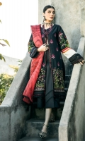 LAWN EMBROIDERED FRONT 1.25 MTR  LAWN PRINTED BACK & SLEEVE 1.75 MTR  ORGANZA PRINTED DUPATTA 2.5 MTR  DYED CAMBRIC TROUSER 2.5 MTR