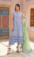 LAWN EMB FRONT 1.25 MTR  LAWN PASTE PRINTED BACK & SLEEVES 1.75 MTR  ORGANZA EMB DUPATTA 2.5 MTR  DYED CAMBRIC TROUSER 2.5 MTR