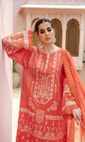 LAWN EMB FRONT 1.25 MTR  LAWN EMB SLEEVE 0.65 MTR  LAWN PASTE PRINTED BACK 1.25 MTR  CHIFFON PRINTED DUPATTA 2.5 MTR  DYED CAMBRIC TROUSER 2.5 MTR  ACCESSORIES  1 MTR SLEEVE ORGANZA BORDER