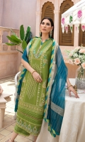 LAWN EMB FRONT 1.25 MTR  LAWN PASTE PRINTED BACK & SLEEVES 1.75 MTR  ORGANZA BANARSI DUPATTA 2.5 MTR  DYED CAMBRIC TROUSER 2.5 MTR