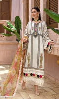 SELF JACQUARD EMB FRONT CENTER PANEL  SELF JACQUARD EMB SLEEVE 0.65 MTR  SELF JACQUARD DYED SIDE PANELS  SELF JACQUARD DYED BACK 1.25 MTR  ORGANZA PRINTED DUPATTA 2.5 MTR  DYED CAMBRIC TROUSER 2.5 MTR
