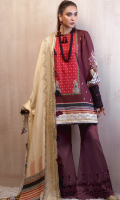DIGITAL PRINTED LINEN SHIRT: 3MTR DIGITAL PRINTED TWILL DUPATTA: 2.5MTR DYED LINEN TROUSER: 2.5MTR
