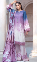 DIGITAL PRINTED LINEN SHIRT: 3MTR DIGITAL PRINTED DOBBY DUPATTA: 2.5MTR DYED LINEN TROUSER: 2.5MTR