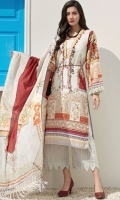 LAWN DIGITAL PRINTED SHIRT: 3MTR  VOILE DIGITAL PRINTED DUPATTA: 2.5MTR  DYED CAMBRIC TROUSER: 2.5MTR