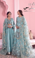 Frock Front & Back: Embroidered Chiffon Frock Front Bodice: Embroidered Chiffon with Adda Work Frock Back Bodice: Embroidered Chiffon Sleeves: Embroidered Chiffon with Adda Work Dupatta: Embroidered Net Front & Back Lace: Embroidered Silk Sleeves Lace: Embroidered Silk Dupatta Lace: Embroidered Silk (4 Sides) Trouser: Dyed Raw Silk