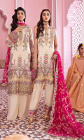 Shirt Front: Embroidered Chinon with Applique Shirt Back: Embroidered Chinon Sleeves: Embroidered Chinon Dupatta: Foil Printed Chiffon Neckline: Embroidered Organza Sleeve Lace 1: Embroidered Organza Sleeve Lace 2: Embroidered Organza Sleeve Lace 3: Embroidered Organza Front & Back Lace 1: Embroidered Organza Front & Back Lace 2: Embroidered Organza Dupatta Lace: Embroidered Organza (4 Sides) Trouser: Dyed Raw Silk