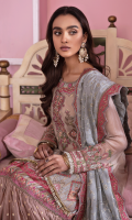 Shirt Front: Embroidered Chiffon with Applique Shirt Back: Embroidered Chiffon Sleeves: Embroidered Chiffon Dupatta: Embroidered Pure Organza Neckline: Embroidered Organza Sleeve Lace 1: Embroidered Organza Sleeve Lace 2: Embroidered Silk Front & Back Lace: Embroidered Organza Dupatta Lace: Embroidered Organza (4 Sides) Trouser: Foil Printed Silk