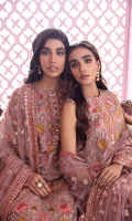 Shirt Front: Embroidered Chiffon Shirt Back: Embroidered Chiffon Sleeves: Embroidered Chiffon Dupatta: Embroidered Net Shirt Front Patch: Embroidered Organza Shirt Back Patch: Embroidered Organza Sleeve Lace: Embroidered Silk Dupatta Lace: Embroidered Silk (4 Sides) Trouser: Dyed Raw Silk