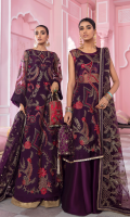 Frock Front & Back: Embroidered Net Frock Front & Back Bodice: Embroidered Net Sleeves: Embroidered Net Dupatta: Embroidered Net Sleeves Patch: Embroidered Organza Dupatta Lace: Embroidered Silk: (4 Sides) Trouser: Dyed Raw Silk