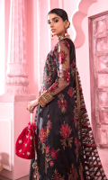 Frock Front: Embroidered Net with Adda Work Frock Back: Embroidered Net Frock Front Bodices: Embroidered Net with Adda Work Frock Back Bodice: Embroidered Net Sleeves: Embroidered Net with Adda Work Dupatta: Embroidered Net Front & Back Lace 1: Embroidered Organza Front & Back Lace 2: Embroidered Organza Sleeve Lace 1: Embroidered Organza Sleeve Lace 2: Embroidered Organza Dupatta Lace: Embroidered Organza: (4 Sides) Trouser: Dyed Raw Silk