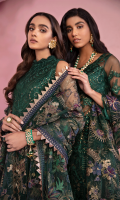 Shirt Front: Embroidered Net Shirt Back: Embroidered Net Sleeves: Embroidered Net Dupatta: Embroidered Net Sleeves Lace: Embroidered Organza Front & Back Lace: Embroidered Silk Trouser: Foil Printed Silk