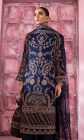 Shirt Front: Embroidered Chiffon Shirt Back: Embroidered Chiffon Sleeves: Embroidered Chiffon Dupatta: Embroidered Net Front & Back Lace 1: Embroidered Silk Front & Back Lace 2: Embroidered Silk Front & Back Lace 3: Embroidered Organza Sleeves Lace: Embroidered Organza Dupatta Lace: Embroidered Organza (4 Sides) Trouser: Dyed Raw Silk