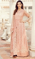 Shirt Front: Sequins Embroidered Chiffon  Shirt Front & Back Bodice: Sequins Embroidered Chiffon Shirt Back: Dyed Chiffon Sleeves: Sequins Embroidered Chiffon Dupatta: Embroidered Chiffon  Front & Back Neckline: Sequins Embroi...