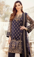 Shirt Front: Sequins Embroidered Chiffon with Ada Work Shirt Back: Dyed Chiffon Sleeves: Sequins Embroidered Chiffon Dupatta: Jammawar Dyed Shawl Sleeves Lace: Sequins Embroidered Silk Front & Back Lace: Sequins Embroidered Si...