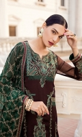 Shirt Front: Embroidered Chiffon Shirt Back: Dyed Chiffon Sleeves: Embroidered Chiffon Dupatta: Embroidered Chiffon Dupatta Pallu: Embroidered Chiffon Sleeves Lace: Embroidered Silk Front & Back Lace: Embroidered Silk