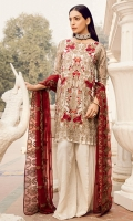 Shirt Front: Embroidered Chiffon  Shirt Back: Dyed Chiffon Sleeves: Embroidered Chiffon Dupatta: Embroidered Chiffon Sleeves Lace: Embroidered Organza Trouser: Dyed Raw Silk