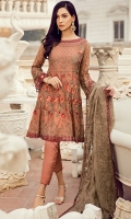 Frock Front & Back: Embroidered Chiffon Front Bodice: Embroidered Chiffon Back Bodice: Embroidered Chiffon Sleeves: Embroidered Chiffon Dupatta: Embroidered Chiffon Front & Back Neckline: Sequins Embroidered Organza Sleeves...