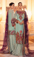 Shirt Front: Sequins Embroidered Chinon Chiffon Shirt Back: Sequins Embroidered Chinon Chiffon Sleeves: Sequins Embroidered Chinon Chiffon) Dupatta: Sequins Embroidered Net Neck Line: Sequins Embroidered Silk Shirt Front & Back Lace: Sequins Embroidered Silk Sleeves Lace: Sequins Embroidered Organza Sleeves Patch: Sequins Embroidered Silk Daman: Sequins Embroidered Organza Dupatta lace: Sequins Embroidered Organza (4 Sides) Trouser: Dyed Jammawar