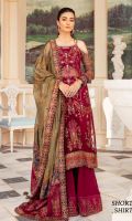 Shirt Front: Sequins Embroidered Chiffon with Adda Work Shirt Back: Dyed Chiffon Sleeves: Sequins Embroidered Chiffon Dupatta: Sequins Embroidered Zarri Net Shawl Sleeves Lace 1: Embroidered Silk Sleeves Lace 2: Embroidered Silk Sleeves Lace 3: Embroidered Silk Sleeves Lace 4: Embroidered Chiffon Dupatta Pallu 1: Sequins Embroidered Silk Dupatta Pallu 2: Embroidered Silk Dupatta Lace: Embroidered Silk (4-side) Front & Back Lace 1: Sequins Embroidered Silk Front & Back Lace 2: Embroidered Silk Front & Back Lace 3: Embroidered organza Trouser: Dyed Raw Silk