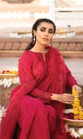 Shirt Front: Embroidered Lawn Shirt Back: Dyed Lawn Sleeves: Embroidered Lawn Dupatta: Embroidered Net Front & Back Lace: Embroidered Organza Front Neck Line: Embroidered Organza Back Neck Line: Embroidered Organza Sleeve Lace: Embroidered Organza Dupatta Pallu: Embroidered Organza Dupatta Lace: Embroidered Organza (4 Sides) Trouser: Dyed Cambric
