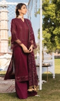Shirt Front: Sequence Embroidered Lawn Shirt Back: Sequence Embroidered Lawn Sleeves: Sequence Embroidered Lawn Dupatta: Embroidered Net Shirt Front & Back Lace: Sequence Embroidered Organza Shirt Chalk Lace: Sequence Embroidered Organza Sleeve Lace: Sequence Embroidered Organza Sleeves Patches: Embroidered Organza Trouser: Dyed Cambric