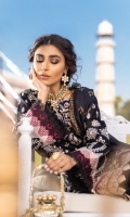 Shirt Front: Borer Embroidered Lawn Shirt Back: Embroidered Lawn Sleeves: Borer Embroidered Lawn Dupatta: Digital Printed Silk Shirt Front Lace: Embroidered Silk Sleeve Lace: Embroidered Silk Trouser: Dyed Cambric