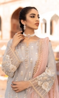 Shirt Front & back Panel: Sequence Embroidered lawn Shirt Side panels: Sequence Embroidered lawn Sleeves: Embroidered Lawn Dupatta: Sequence Embroidered Net Shirt Front & Back Lace: Sequence Embroidered Organza Sleeves Lace: Sequence Embroidered Organza Necklace: Sequence Embroidered Organza Trouser: Dyed Cambric