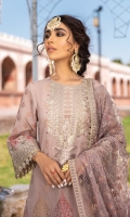 Shirt Front, Back & Sleeves: Printed Jacquard Dupatta: Embroidered Net Neck Line: Embroidered Organza Shirt Front Lace: Embroidered Organza Sleeves Lace: Embroidered Organza Dupatta Lace: Embroidered Organza Trouser: Dyed Cambric