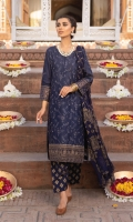 Shirt Front: Embroidered Lawn Shirt Back: Embroidered Lawn Sleeves: Embroidered Lawn Dupatta: Paste Printed Chiffon Front & Back Lace: Embroidered Organza Sleeve Lace: Embroidered Organza Trouser: Paste Printed Cambric