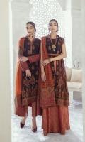 Shirt Front & Back: Embroidered Chiffon (2.3 yards) Sleeves: Embroidered Chiffon (0.7 yards) Dupatta: Dyed Bember Zari Shawl (2.25 yards) Neck Lace: Embroidered Silk Shirt Front & Back Lace: Embroidered Silk (2.3 yards) Sleeve Lace: Embroidered Silk (1 yard) Dupatta Pallu: Embroidered Silk (2.3 yards) Trouser: Dyed Jammawar (2.5 yard)