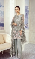 Shirt Front: Sequins Embroidered Chiffon (1 yard) Shirt Back: Sequins Embroidered Chiffon (1 yard) Sleeves: Sequins Embroidered Chiffon (0.7 yards) Dupatta: Sequins Embroidered Net (1.6 yards) Shirt Front & Back Lace: Sequins Embroidered Organza (2 yards) Sleeve Lace: Sequins Embroidered Organza (1 yard) Dupatta Pallu: Sequins Embroidered Organza (2.3 yards) Trouser: Dyed Raw Silk (2.5 yard)