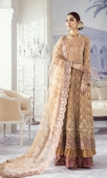 Frock Front & Back: Embroidered Chiffon (2.3 Yards) Front & Back Bodice: Embroidered Chiffon (1.75yards) Sleeves: Embroidered Chiffon (0.7 yards) Dupatta: Embroidered Net (2.75 Yards) Sleeve Lace: Embroidered Organza (1 yard) Dupatta Lace: Embroidered Net (2.7 Yards) Trouser: Dyed Jammawar (2.5 yard)