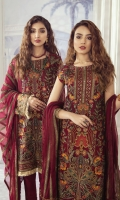 Shirt Front: Sequins Embroidered Chiffon (1 yard) Shirt Back: Sequins Embroidered Chiffon (0.8yard) Sleeves: Sequins Embroidered Chiffon (0.7 yards) Dupatta: Sequins Embroidered Chiffon (2.3 yards) Dupatta Pallu: Sequins Embroidered Silk (2.3 yards) Sleeve Lace: Sequins Embroidered Silk (1 yard) Front & Back Lace: Sequins Embroidered Silk (2 yards) Trouser: Dyed Raw Silk (2.5 yard)