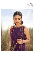 Shirt Front: Embroidered Lawn Shirt Back: Embroidered Lawn Necklace: Embroidered Organza Shirt Front Lace: Embroidered Organza Front & Back Lace 1: Embroidered Cotton Front & Back Lace 2: Embroidered Cotton Sleeves: Embroidered Lawn Sleeves Lace: Embroidered Organza Dupatta: Printed Silk Trouser: Dyed Cambric Trouser Lace 1: Embroidered Cotton Trouser Lace 2: Embroidered Organza