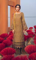 Shirt Front: Embroidered Printed Lawn Shirt Back & Sleeves: Printed Lawn Front & Back Lace: Embroidered Organza Daman Lace: Embroidered Organza Sleeves Lace 1: Embroidered Organza Sleeves Lace 2: Borer Embroidered Organza Dupatta: Printed Silk Trouser: Dyed Cambric
