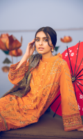 Shirt Front: Embroidered Lawn Shirt Back: Dyed Lawn Front & Back Lace 1: Embroidered Organza Front & Back Lace 2: Embroidered Cotton Sleeves: Embroidered Lawn Sleeves Lace: Embroidered Organza Dupatta: Printed Silk Trouser: Dyed Cambric Trouser Lace: Embroidered Organza