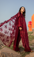 Shirt Front: Embroidered Lawn Shirt Back & Sleeves: Dyed Lawn Neckline: Embroidered Organza Shirt Lace 1: Embroidered Organza Shirt Lace 2: Embroidered Lawn Sleeves Patches: Embroidered Organza Sleeves Lace: Embroidered Organza Dupatta: Embroidered Net Trouser: Dyed Cambric