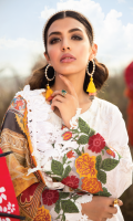 Shirt Front: Embroidered Lawn Shirt Back: Embroidered Lawn Front & Back Lace: Embroidered Organza Sleeves: Embroidered Lawn Sleeves Lace: Embroidered Organza Dupatta: Printed Silk Trouser: Puff Printed Cambric