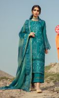 Shirt Front: Borer Embroidered Lawn Shirt Back & Sleeves: Dyed Lawn Front & Back Lace: Embroidered Cotton Sleeves Lace: Borer Embroidered Organza Dupatta: Tie & Dye Chiffon Dupatta Lace: Embroidered Organza (4 sides) Trouser: Dyed Cambric