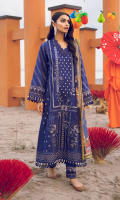 Shirt Front: Embroidered Lawn Shirt Back: Embroidered Lawn Front & Back Lace: Embroidered Cotton Sleeves: Embroidered Lawn Sleeves Lace: Embroidered Organza Dupatta: Printed Silk Trouser: Dyed Cambric Trouser Lace: Embroidered Organza