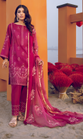 Shirt Front & Back: Embroidered Lawn Shirt Front Lace: Embroidered Organza Shirt Back Patch: Embroidered Organza Front & Back Lace: Embroidered Cotton Sleeves: Embroidered Lawn Sleeves Lace: Embroidered Organza Dupatta: Tie & Dye Embroidered Chiffon Dupatta Lace: Embroidered Organza (4 Sides) Trouser: Dyed Cambric