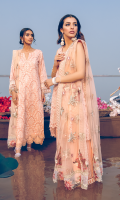 Shirt Front: Borer Embroidered Lawn with Laces Shirt Back: Dyed Lawn Sleeves: Embroidered Lawn Sleeves Lace: Embroidered Organza Dupatta: Embroidered Net Dupatta Pallu: Embroidered Organza Dupatta Lace: Embroidered Cotton Trouser: Dyed Cambric