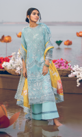 Shirt Front: Borer Embroidered Printed Lawn Shirt Back & Sleeves: Printed Lawn Front & Back Lace: Embroidered Organza Shirt Back Patch: Embroidered Organza Sleeves Lace: Embroidered Organza Dupatta: Printed Organza Dupatta Lace: Embroidered Organza (4 Sides) Trouser: Dyed Cambric