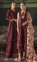 Frock Front & Back: Embroidered Chiffon Frock Front & Back Bodice: Embroidered Chiffon Sleeves: Embroidered Chiffon Dupatta: Embroidered Velvet Shawl Neckline: Embroidered Organza Front & Back Lace 1: Embroidered organza Front & Back Lace 2: Embroidered Silk Sleeves Lace1: Embroidered Organza Sleeves Lace 2: Embroidered Silk Dupatta Lace: Embroidered Silk Trouser: Dyed Raw Silk