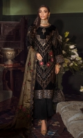 Shirt Front: Sequins Embroidered Velvet Shirt Back: Sequins Embroidered Velvet Sleeves: Sequins Embroidered Velvet Dupatta: Sequins Embroidered Zarri Net Shawl Dupatta Lace: Sequins Embroidered Silk (4 Sides) Front Patch: Embroidered Organza with Adda work Back Patch: Embroidered Organza Front Neckline: Embroidered Organza with Adda work Back Neckline Embroidered Organza Front Neck Motif: Embroidered Organza with Adda work Back Neck Motif: Embroidered Organza Front & Back Lace: Sequins Embroidered Organza Sleeve Lace: Sequins Embroidered organza Trouser: Dyed Raw Silk