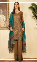 Shirt Front: Sequins Embroidered Chiffon Shirt Back: Sequins Embroidered Chiffon Sleeves: Sequins Embroidered Chiffon Dupatta: Dyed 2 Tone Zari Shawl Dupatta Pallu: Embroidered Organza Sleeve Lace: Embroidered Organza Front & Back Lace: Embroidered Organza Neck Lace: Embroidered Organza Trouser: Dyed Raw Silk Trouser Lace: Embroidered Organza